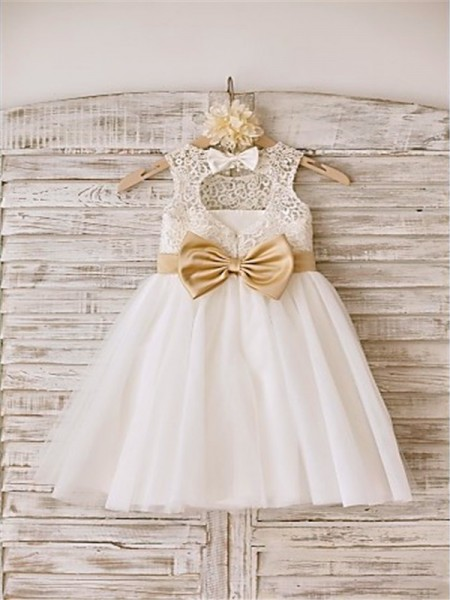 A-line/Princess Sleeveless Bowknot Scoop Tea-Length Tulle Flower Girl Dresses