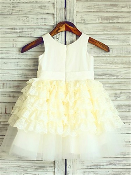 Ball Gown Sleeveless Lace Tea-Length Layers Scoop Flower Girl Dresses