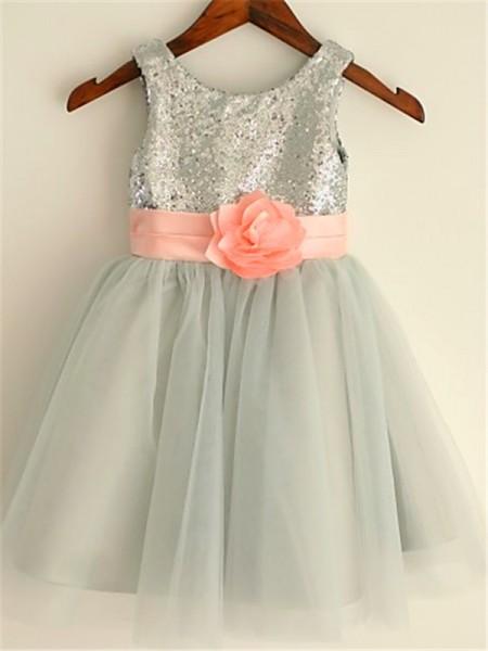 A-Line/Princess Tea-Length Sequin Scoop Sleeveless Tulle Flower Girl Dress