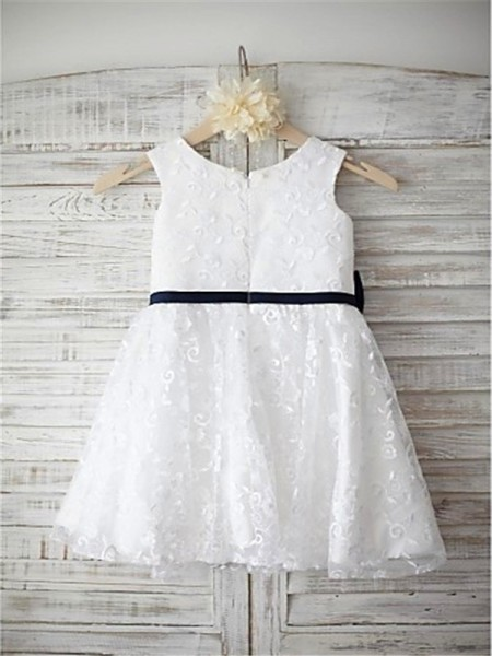A-line/Princess Sleeveless Lace Tea-Length Bowknot Scoop Flower Girl Dresses