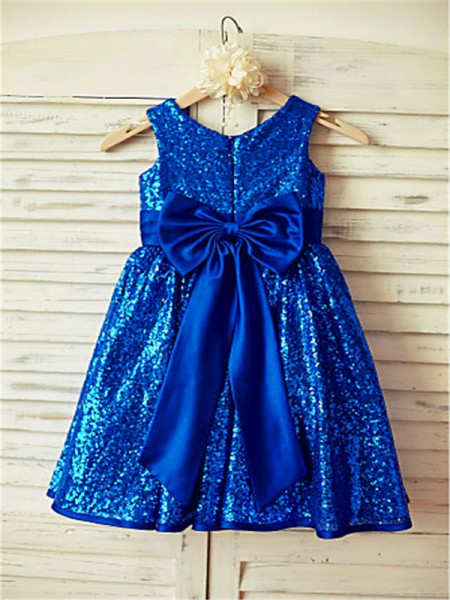 A-line/Princess Sleeveless Sequins Tea-Length Bowknot Scoop Flower Girl Dresses