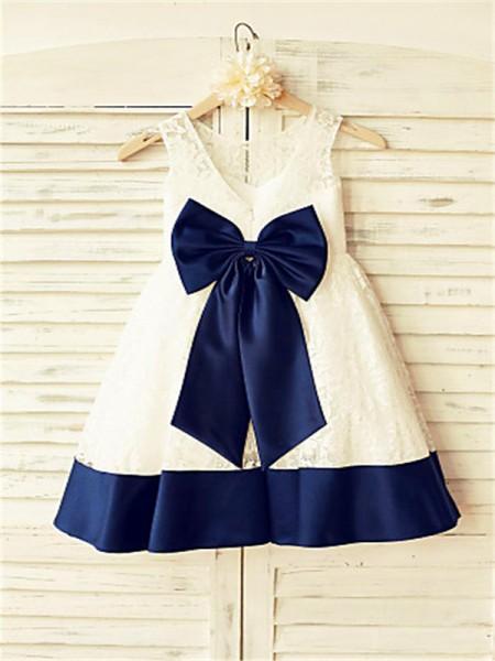 A-line/Princess Sleeveless Lace Tea-Length Bowknot Scoop Flower Girl Dresses