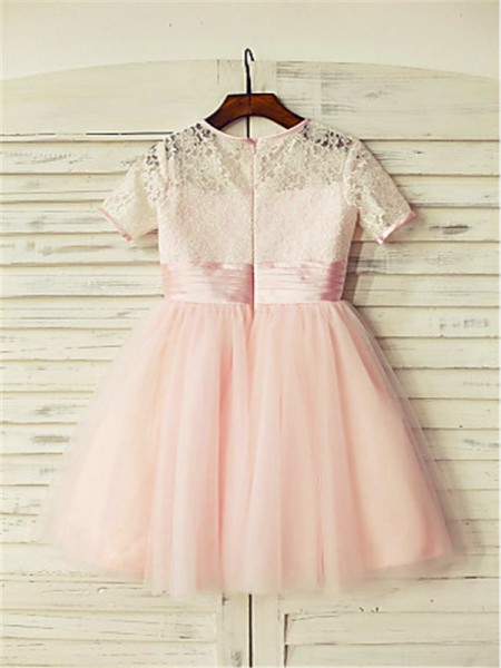A-Line/Princess Tea-Length Lace Jewel Short Sleeves Tulle Flower Girl Dress