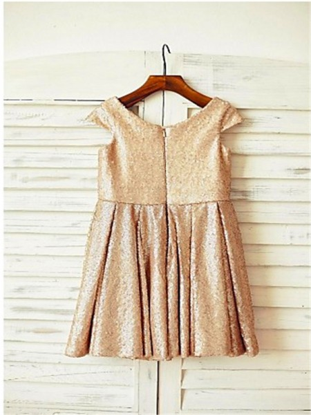 A-line/Princess Short Sleeves Sequins Tea-Length Sequin Scoop Flower Girl Dresses