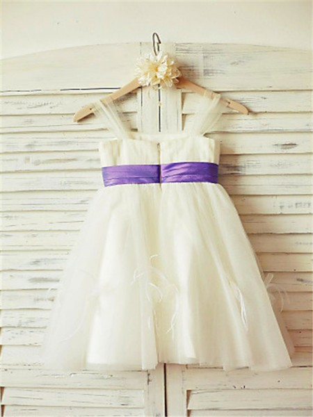 A-Line/Princess Tea-Length Ruffles Straps Sleeveless Tulle Flower Girl Dress