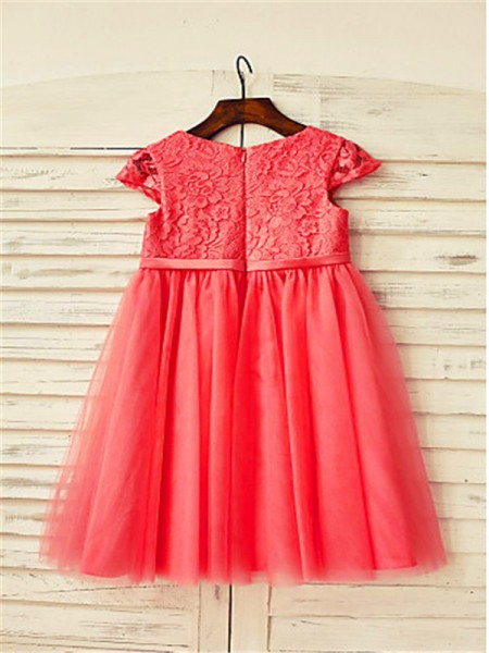 A-Line/Princess Tea-Length Lace Scoop Short Sleeves Tulle Flower Girl Dress