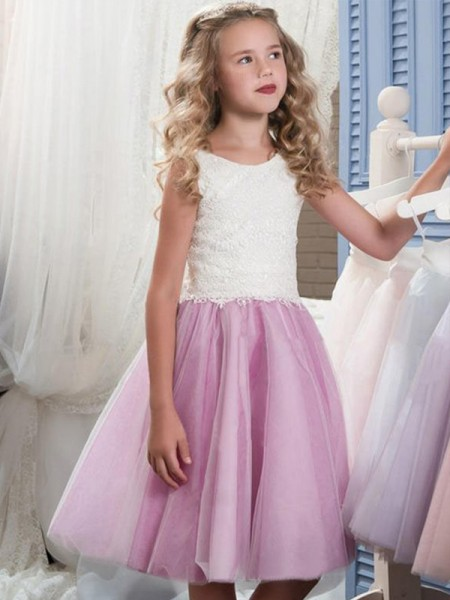 A-Line/Princess Lace Knee-Length Sleeveless Scoop Tulle Flower Girl Dress