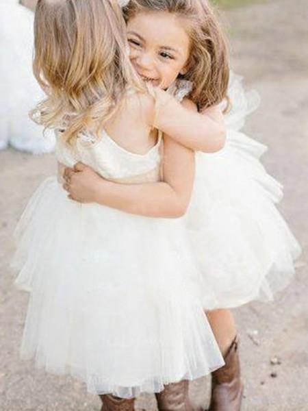A-Line/Princess Sleeveless Square Knee-Length Sash/Ribbon/Belt Tulle Flower Girl Dresses