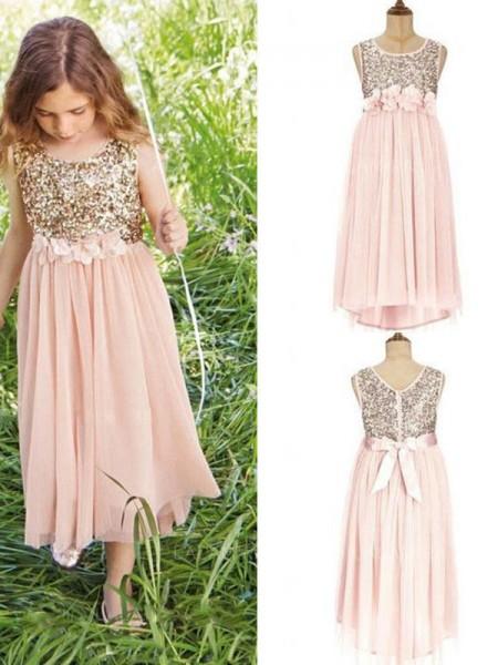 A-Line/Princess Sleeveless Scoop Asymmetrical Sequin Chiffon Flower Girl Dresses