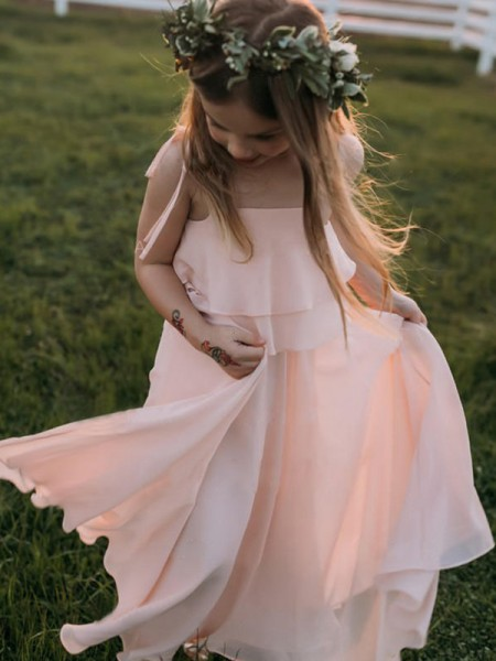 Empire Ruffles Floor-Length Sleeveless Spaghetti Straps Chiffon Flower Girl Dress