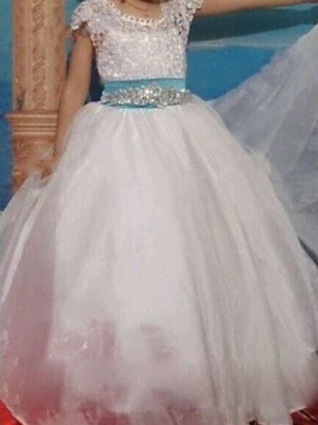 Ball Gown Beading Floor-Length Short Sleeves Scoop Organza Flower Girl Dress