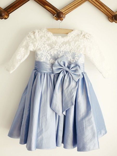 A-Line/Princess Scoop Knee-Length Long Sleeves Taffeta Flower Girl Dresses