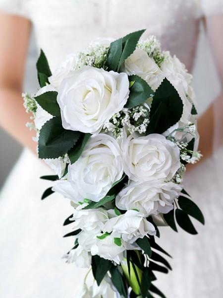 Elegant Cascading Bridal Bouquet White Roses