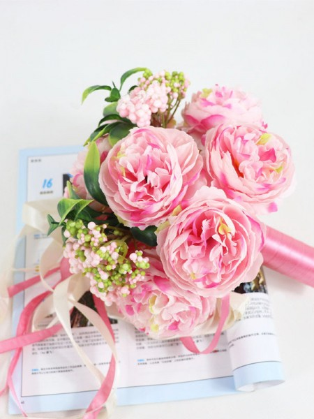 Beautiful Bridal Bouquets Round Silk Flower