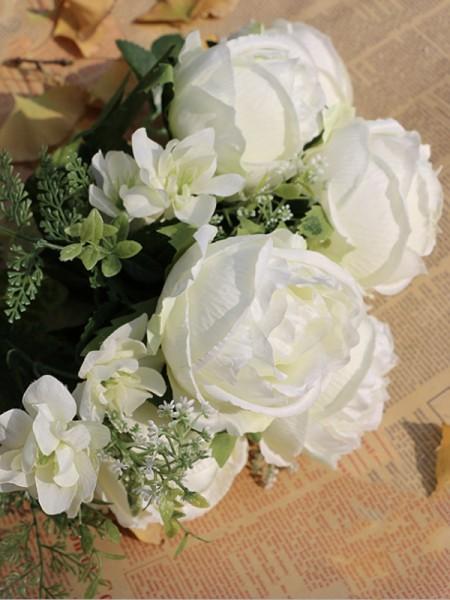 Delicate Free-Form Silk Flower Wedding Bouquets