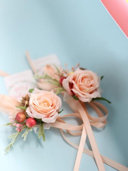 Brides Bridesmaid Rose Wrist Corsages Hand silk Flower