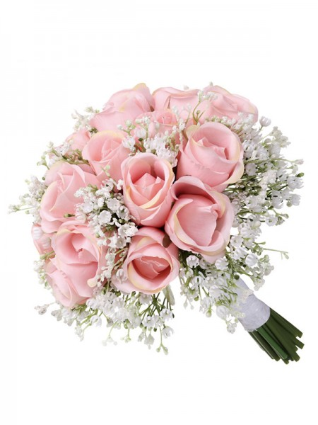 Sweet Round Artificial Pink Flower Bridal Bouquets
