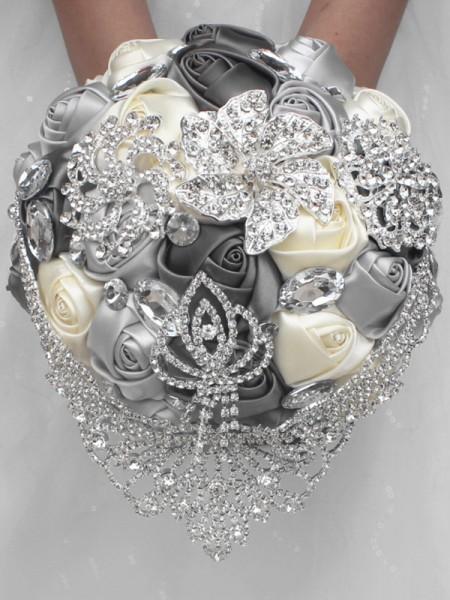 Luxurious Round Satin Bridal Bouquets Wedding Supplies
