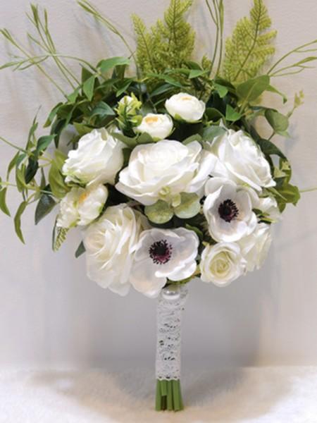 Free-Form White Silk Flower Bridal Bouquets