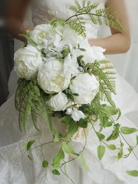 Pure Cascade Silk Flower White Bridal Bouquets
