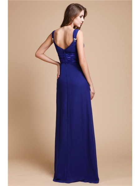 Sheath/Column Ruffles Chiffon Sleeveless Floor-Length V-neck Bridesmaid Dresses