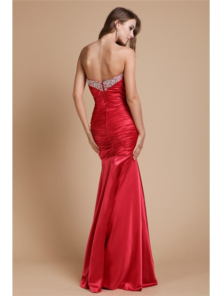 Trumpet/Mermaid Beading Elastic Woven Satin Sleeveless Floor-Length Sweetheart Dresses