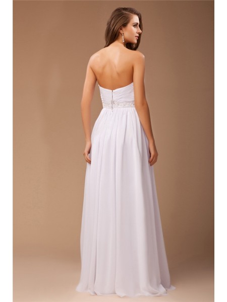 Sheath/Column Beading Chiffon Sleeveless Floor-Length Sweetheart Dresses