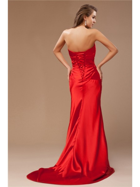 Trumpet/Mermaid Beading Taffeta Sleeveless Sweep/Brush Train Strapless Dresses