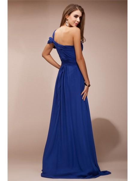 Sheath/Column Ruffles Rhinestone Chiffon Sleeveless Floor-Length One-Shoulder Dresses