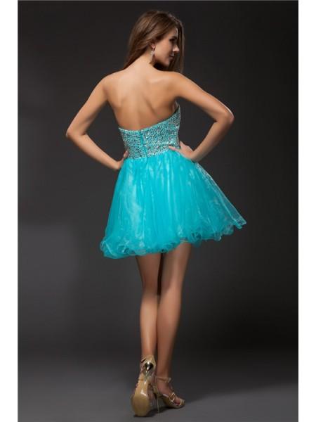 A-Line/Princess Beading Organza Sleeveless Short/Mini Sweetheart Short Cocktail Dresses