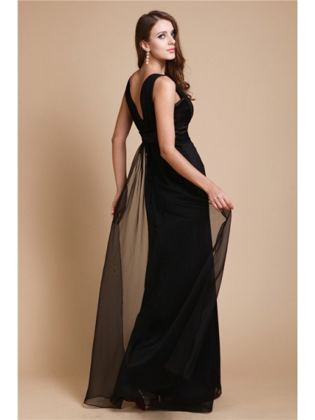 Sheath/Column Sash/Ribbon/Belt Chiffon Sleeveless Floor-Length Straps Dresses