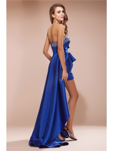 A-Line/Princess Rhinestone Satin Sleeveless Asymmetrical Sweetheart Dresses