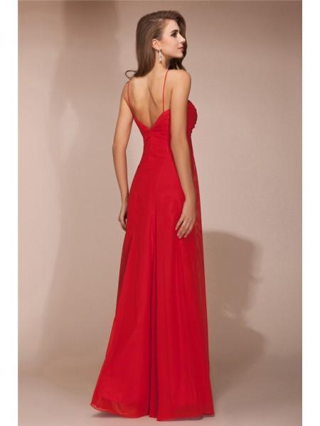 Sheath/Column Ruffles Chiffon Sleeveless Floor-Length Bridesmaid Dresses