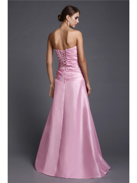 A-Line/Princess Beading Elastic Woven Satin Sleeveless Floor-Length Strapless Dresses