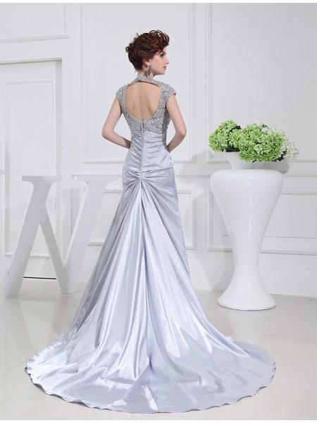 A-Line/Princess Beading Lace Elastic Woven Satin Sleeveless Sweep/Brush Train Scoop Dresses