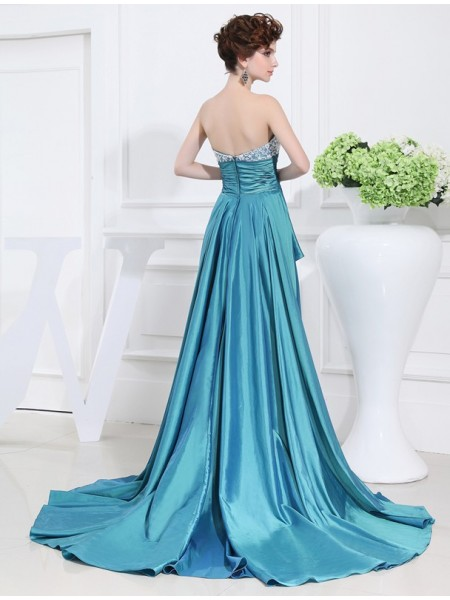 A-Line/Princess Beading Taffeta Sleeveless Asymmetrical Sweetheart Dresses
