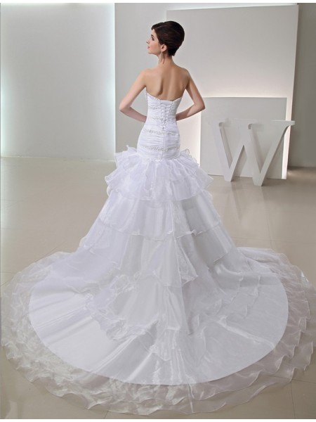 Trumpet/Mermaid Beading Organza Sleeveless Chapel Train Sweetheart Wedding Dresses