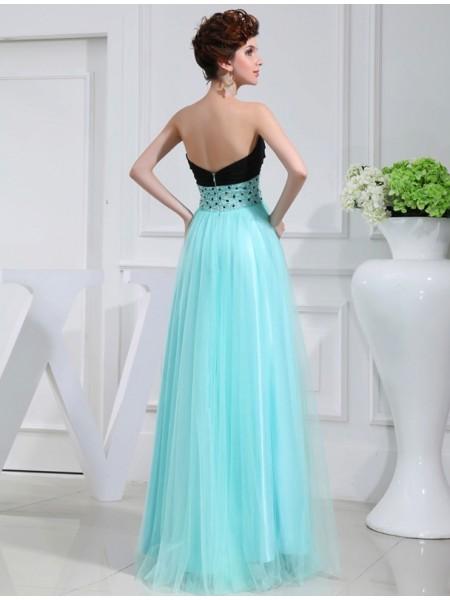 A-Line/Princess Beading Elastic Woven Satin Sleeveless Floor-Length Sweetheart Dresses