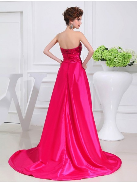 A-Line/Princess Applique Taffeta Sleeveless Asymmetrical Strapless Dresses
