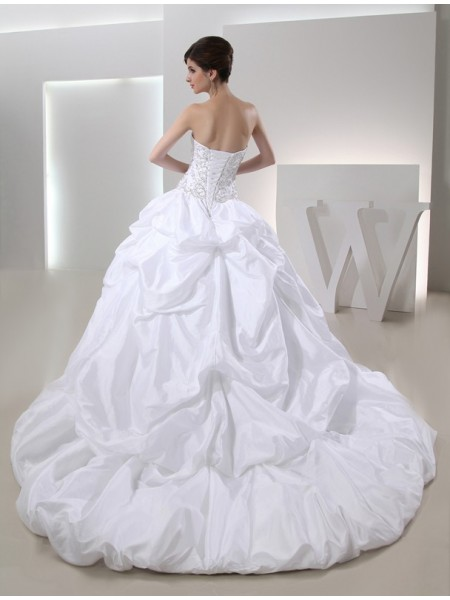 Ball Gown Beading Taffeta Sleeveless Cathedral Train Strapless Wedding Dresses
