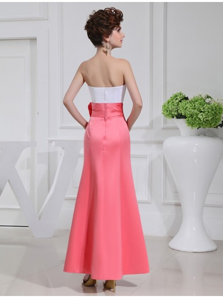 A-Line/Princess Pleats Hand-Made Flower Satin Sleeveless Ankle-Length Strapless Bridesmaid Dresses
