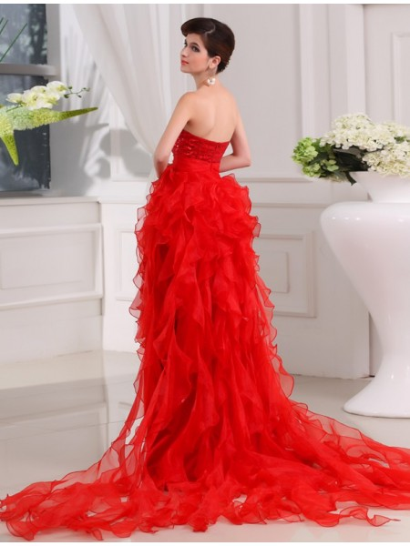 A-Line/Princess Sequin Organza Sleeveless Asymmetrical Sweetheart Dresses