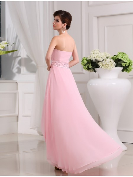 A-Line/Princess Beading Chiffon Sleeveless Asymmetrical Sweetheart Dresses