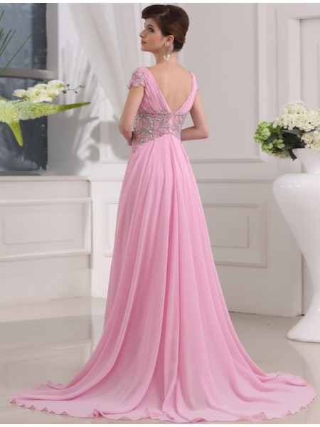 A-Line/Princess Beading Chiffon Short Sleeves Sweep/Brush Train V-neck Dresses
