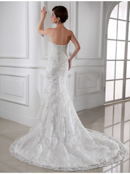 Trumpet/Mermaid Beading Satin Lace Sleeveless Chapel Train Strapless Wedding Dresses