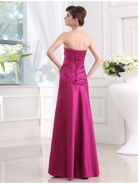 Sheath/Column Pleats Satin Sleeveless Floor-Length Strapless Bridesmaid Dresses