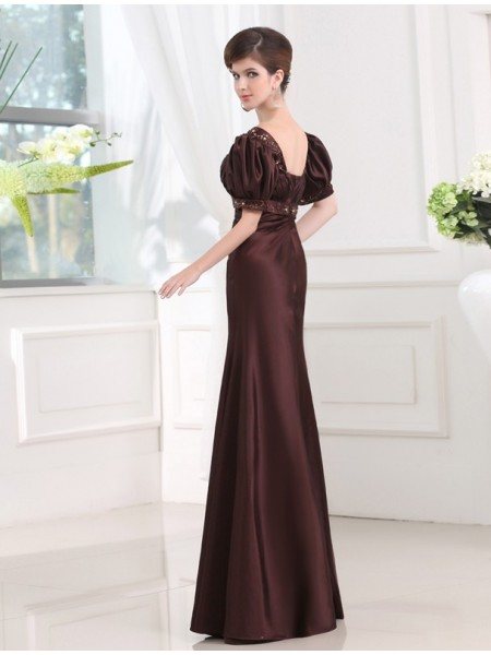 Sheath/Column Beading Satin 1/2 Sleeves Floor-Length V-neck Dresses