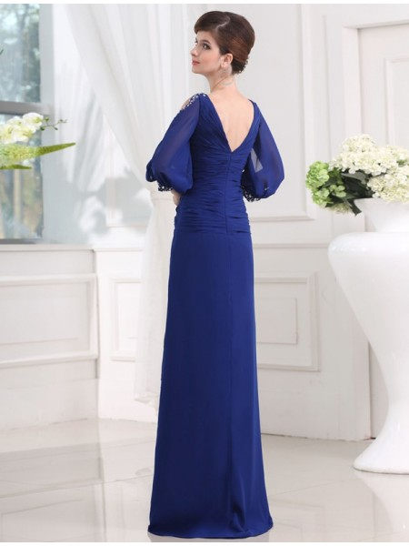 Sheath/Column Beading Chiffon 3/4 Sleeves Floor-Length V-neck Dresses