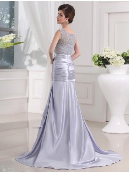 Trumpet/Mermaid Beading Lace Elastic Woven Satin Sleeveless Sweep/Brush Train Scoop Dresses