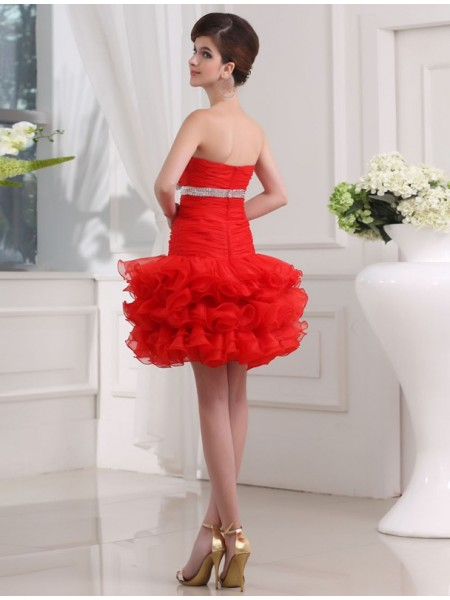 A-Line/Princess Beading Organza Sleeveless Short/Mini Sweetheart Short Cocktail Dresses